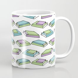 Doodle Books - Pattern in Green, Purple and Blue on White Background Coffee Mug