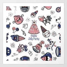 Jelly Party (White) Art Print
