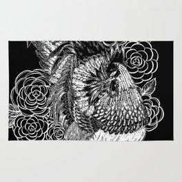 Rooster&Camellia Hat, White on Black Rug
