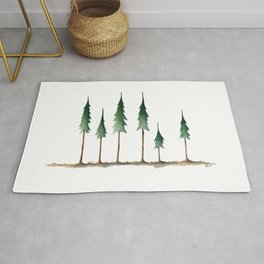 Evergreen forest holiday watercolor Rug