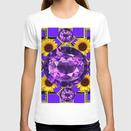 WESTERN AMETHYST GEMS PURPLE SUNFLOWER ART T-shirt