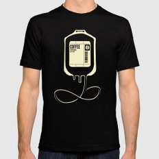 Coffee Transfusion MEDIUM Black Mens Fitted Tee