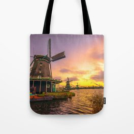 zaanse schans windmill village Tote Bag