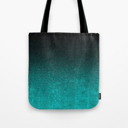 Aqua & Black Glitter Gradient Tote Bag