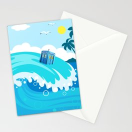 tardis in water waves Stationery Cards