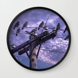 Pigeons on the Wires Wall Clock