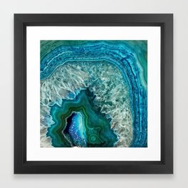 Aqua turquoise agate mineral gem stone - Beautiful Backdrop Framed Art Print