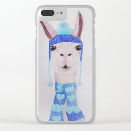 Llama in woolly hat and scarf Clear iPhone Case