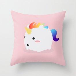 Kawaii rainbow fattycorn Throw Pillow