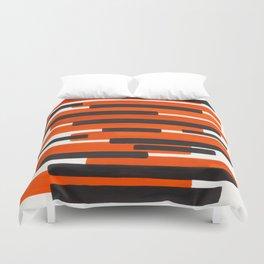 Orange Primitive Stripes Mid Century Modern Minimalist Watercolor Gouache Painting Colorful Stripes Duvet Cover