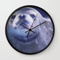 seal Wall Clocks featuring Seal by Asya Solo