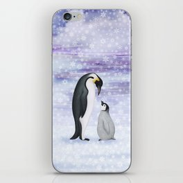 emperor penguins in the snow iPhone Skin