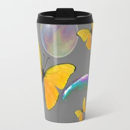 YELLOW BUTTERFLIES  & SOAP BUBBLES GREY COLOR DESIGN ART Travel Mug