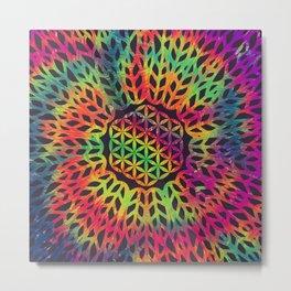 Flower Of Life (Neon Hippie) Metal Print