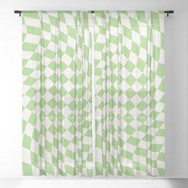 Green Checker Swirl Sheer Curtain
