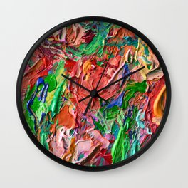 Tulips - palette knife abstract nature flower painting by Adriana Dziuba Wall Clock