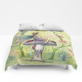 A Happy Place Flower Fairy Fantasy Art by Molly Harrison Comforters