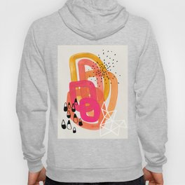 Mid Century Modern Abstract Colorful Art Ombre Magenta Yellow Circles Raindrops Geometric Pattern Hoody