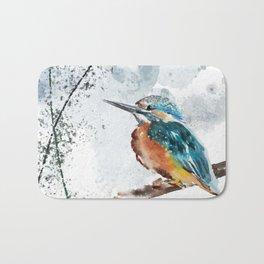 Kingfisher Chinese Style Original Watercolor Painting Design Bath Mat
