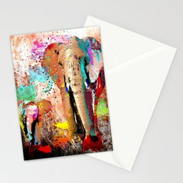 African Elephant Family Painting Stationery Cards