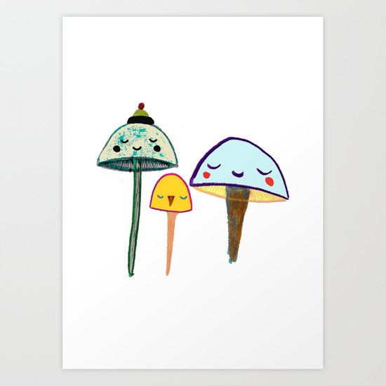 Cute Mushrooms. Art Print