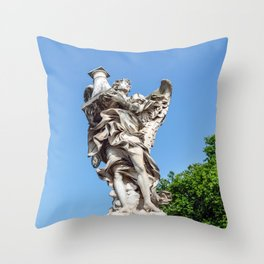 Angel with the Column at the Sant'Angelo bridge - Rome, Italy Throw Pillow