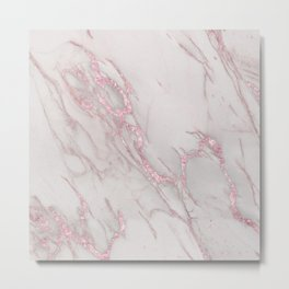 Marble Love Rose Gold Pink Metallic Metal Print