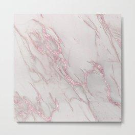 Marble Love Rose Gold Pink Metallic Metal Print