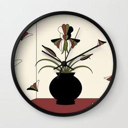 Windswept Irises - Crimson Wall Clock