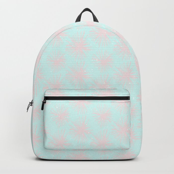 Merry christmas- pink snowflakes and snow on aqua background I Backpack