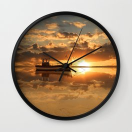 The fishing boat at sunset Wall Clock