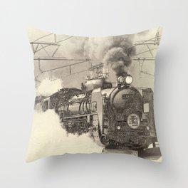 6120 Train Lithograph Throw Pillow