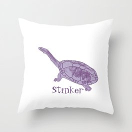 Stinker Turtle by Chrissy Wild Throw Pillow