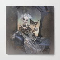 Catrina in Waiting Skeleton Large Format Metal Print