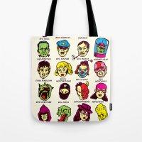 league Tote Bags featuring The League of Cliché Evil Super-Villains by Joshua Kemble