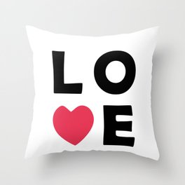 The word Love and pink heart Throw Pillow