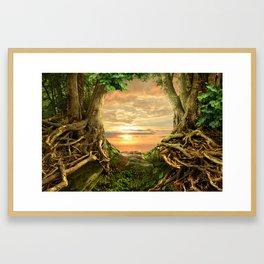 Sunset in wild forest Framed Art Print