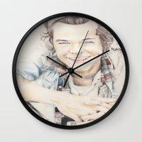 harry styles Wall Clocks featuring Harry Styles by FukoArt