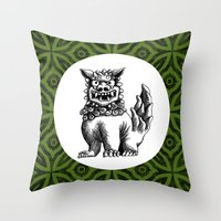 foo fighters Throw Pillows featuring Green Foo by MY  HOME