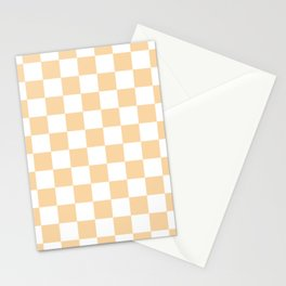 Checkered - White and Sunset Orange Stationery Cards