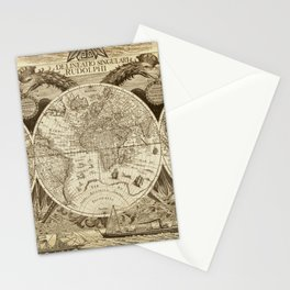 Antique world map with sail ships, sepia Stationery Cards