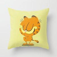 garfield Throw Pillows featuring Garfield by Rod Perich