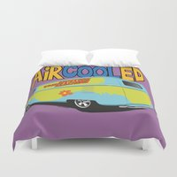 vw bus Duvet Covers featuring VW Camper Drag Bus by VelocityGallery