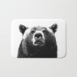 Black and white bear portrait Bath Mat