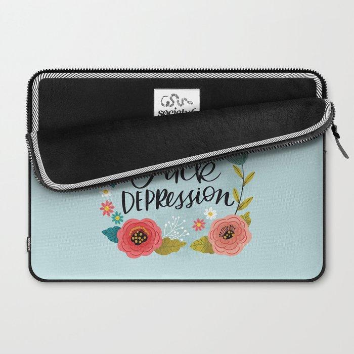 Pretty Swe*ry: Fuck Depression Laptop Sleeve