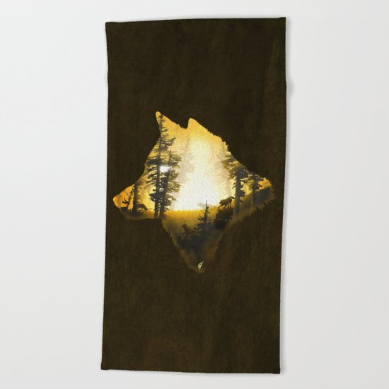 Yellow Wolf Beach Towel