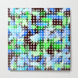 Blue, Green and Black Paint Splatter  Metal Print