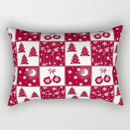 Bright red and white Christmas background Rectangular Pillow