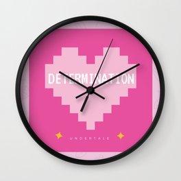 Pink Kawaii Undertale Determination pixel heart Wall Clock