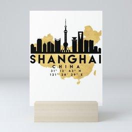 SHANGHAI CHINA SILHOUETTE SKYLINE MAP ART Mini Art Print